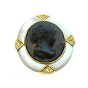 0.04ct Cameo Brooch 18K yellow gold  11.1