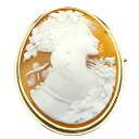 Cameo Brooch 18K Yellow Gold  14.5