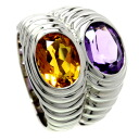 Authentic BVLGARI  Citrine / Amethyst # 9.5 Ring 18K White Gold