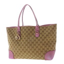 Authentic GUCCI  GG pattern Shoulder Bag Canvas x leather