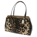 Authentic COACH  Leopard pattern Shoulder Bag Leather x nylon canvas