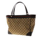 Authentic GUCCI  GG pattern ribbon design Shoulder Bag Leather x canvas