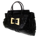 Authentic GUCCI  Ribbon buckle switching bag Tote Bag Leather