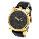 Authentic Gaga Milano Manuare Watch Stainless Black leather Quartz Men