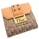 Authentic CHRISTIAN DIOR  Trotter pattern Bifold Wallet with Coin Pocket Leather x canvas