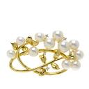 Authentic TASAKI  Pearl / Diamond Brooch 18K yellow gold
