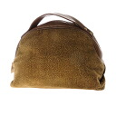 Authentic BORBONESE  Quail pattern Handbag Suede