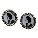 Authentic CHANEL  Lady motif Earring Stainless