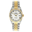 Authentic ROLEX Oyster Perpetual Datejust 16233 Overhauled Watch 18K yellow gold SS an automatic Men