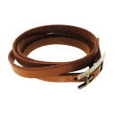 Authentic HERMES  Metal fittings Bracelet Metallic leather x