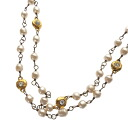 Authentic CHANEL  Pearl motif Necklace Metal