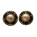 Authentic CHANEL  Pearl motif Earring Metal x Leather