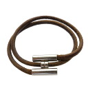 Authentic HERMES  Metal fittings Bracelet Metal x Leather