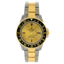 Authentic ROLEX GMT Master 2 16713RG Watch 18K yellow gold SS an automatic Men