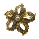Authentic CHRISTIAN DIOR  Flower Brooch Metal