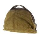 Authentic BORBONESE  Quail pattern Handbag Suede