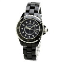 Authentic CHANEL J12 12PD Watch Stainless Black ceramic Quartz Women