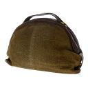 Authentic BORBONESE  Round quail pattern Handbag Suede leather x