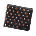 Authentic PRADA  Rhinestone studs Bifold Wallet with Coin Pocket Leather