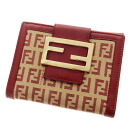 Authentic FENDI  Zucchino pattern Bifold Wallet with Coin Pocket Leather x canvas