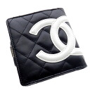 Authentic CHANEL  Kanbonrain COCO Mark Bifold Wallet with Coin Pocket Leather