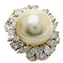 2.881ct Pearl Ring PlatinumPT900 18K Yellow Gold 19.7
