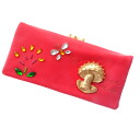 Authentic TSUMORI CHISATO  Three-dimensional motif mushroom Flower Butterfly (With Coin Pocket) Long Wallet Leather