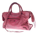 Authentic BALENCIAGA  The City 115748 Handbag Leather