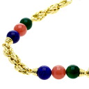 SELECT JEWELRY rhodochrosite and agate and lapis lazuli necklace K18 18kt yellow gold ladies fs04gm
