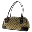 Authentic GUCCI  GG pattern ribbon motif double zipper Shoulder Bag GG canvas