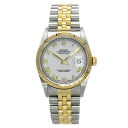 Authentic ROLEX 16233 Datejust White Roman Overhauled Watch Stainless 18K Yellow Gold an automatic Men
