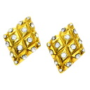 Authentic CHANEL  Stone diamond motif Earring Metal