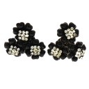 Authentic CHANEL  Flower motif Earring Metal