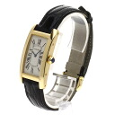 Authentic CARTIER Tank AmericanMM Watch 18K yellow gold Leather Quartz Men