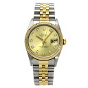 Authentic ROLEX Oyster Perpetual Datejust 16233G Overhauled Watch Stainless 18K Yellow Gold an automatic Men