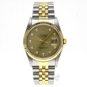 Authentic ROLEX Datejust 16233G Overhauled Watch 18K yellow gold SS an automatic Men