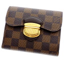 Authentic LOUIS VUITTON  Portefeiulle Joy N60034 Bifold Wallet with Coin Pocket Damier canvas