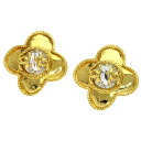 Authentic CHANEL  COCO Mark flower motif Earring Metal
