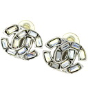 Authentic CHANEL  COCO Mark Stone Design Earring Metal