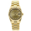 Authentic ROLEX Oyster Perpetual Day-Date 18238LB Watch 18K yellow gold  an automatic Men
