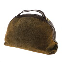 Authentic BORBONESE  Quail pattern Handbag Suede leather x