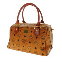 Authentic MCM  Logo metal fittings Handbag Leather