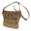 Authentic COACH  Signature pattern Shoulder Bag Canvas x leather