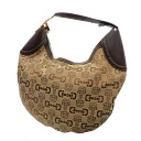 Authentic GUCCI  Bit pattern bracket Shoulder Bag Leather x canvas