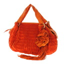 Authentic HIROKO KOSHINO  Flower tassel charm Shoulder Bag Satin