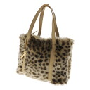 Authentic TSUMORI CHISATO  Leopard cat charm Handbag Faux Fur x Leather