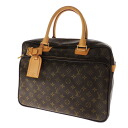 Authentic LOUIS VUITTON  2-layer carry fixed corresponding Icare M23252 double zipper Business bag Monogram canvas