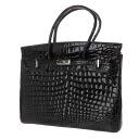Authentic CROCODILE  Belt & flap type Handbag Real leather
