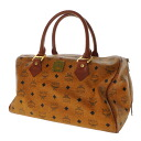 Authentic MCM  Logo design Boston bag Leather