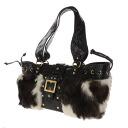 Authentic LADIVA  With logo Handbag Fake fur